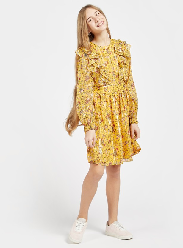 All-Over Floral Print Mini Dress with Bishop Sleeves and Ruffle Detail