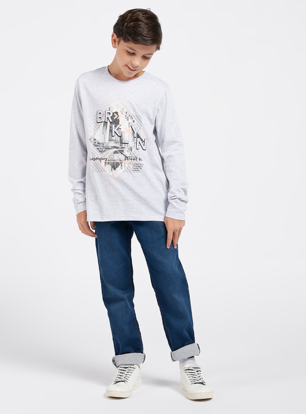 Graphic Print T-shirt with Round Neck and Long Sleeves