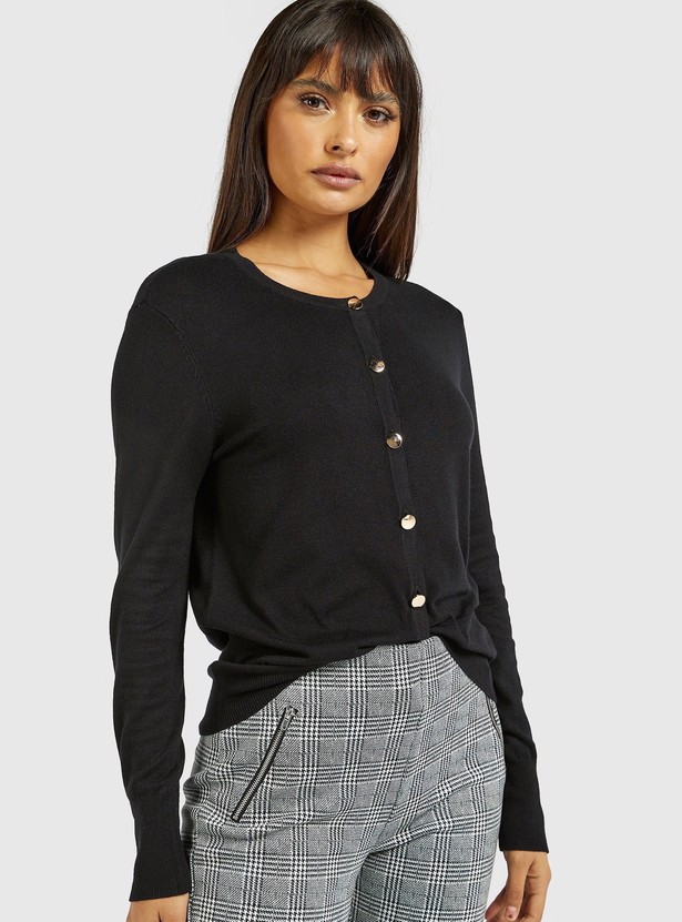 Solid Cardigan with Long Sleeves and Button Detail