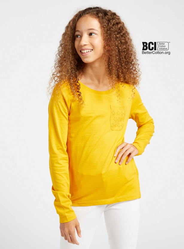 Solid T-shirt with Long Sleeves and Schiffli Detail Chest Pocket