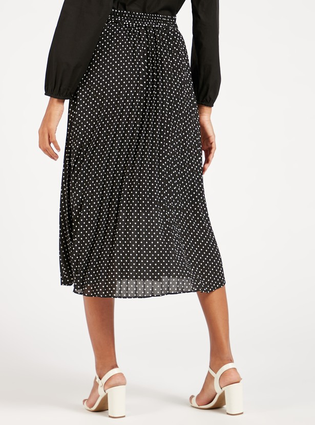 Polka Dots Print Pleat Detail A-line Midi Skirt