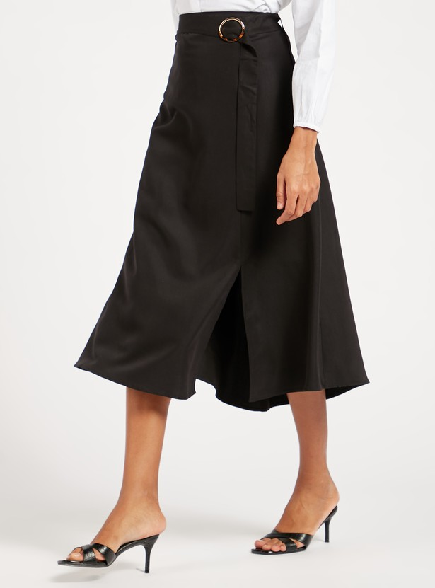 Solid Midi A-line Skirt with Belt and Front Slit
