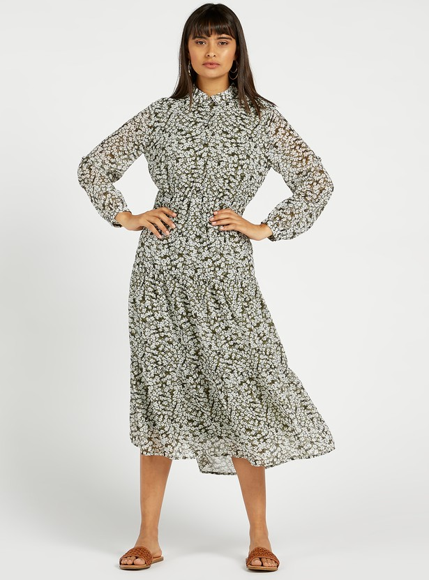 All-Over Print Midi Tiered Dress with Bishop Sleeves and Spread Collar