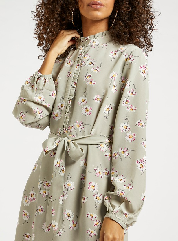 All-Over Floral Print Midi Shirt Dress with Bishop Sleeves and Tie-Ups