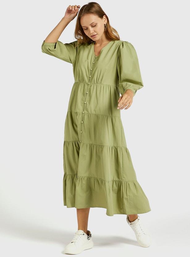 فستان ميدي سادة متعدّد الطبقات بأكمام منفوخة 3/4 وياقة v