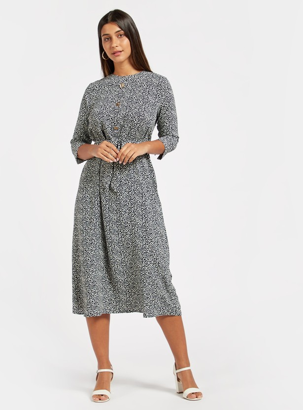 Printed Midi Dress with 3/4 Sleeves and Tie Ups