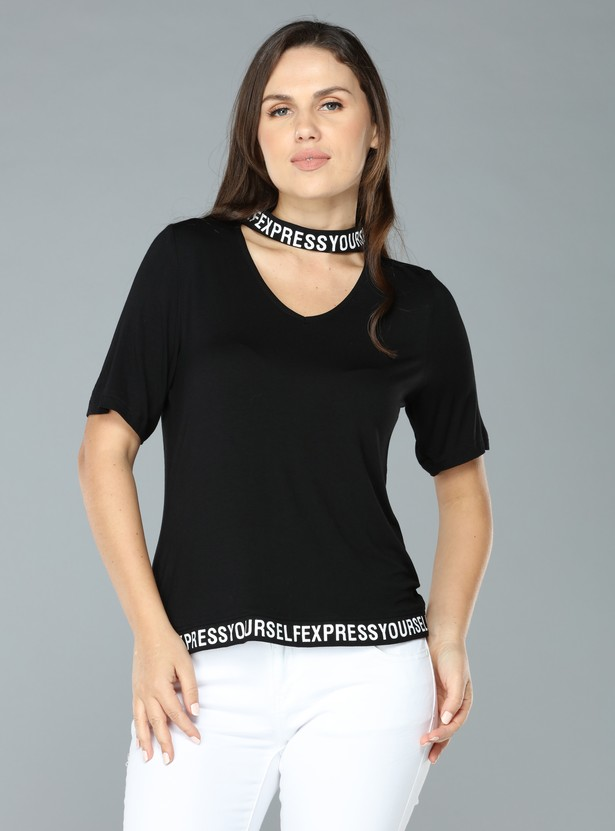 Printed Top and Choker Neck with Short Sleeves