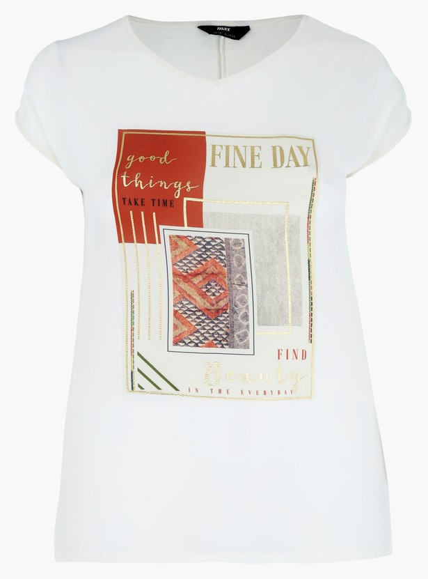 Plus Size Printed T-Shirt with V-Neck and Short Sleeves