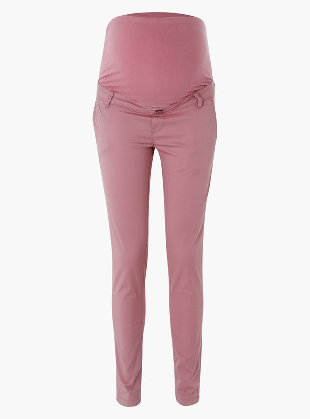 Maternity Full Length Pants with Button Closure in Skinny Fit