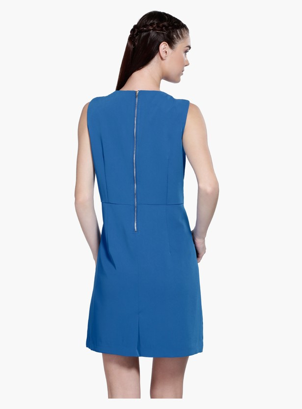 Sleeveless Midi Dress with Round Neck