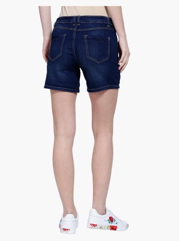 Denim Shorts with Turn Up Hem
