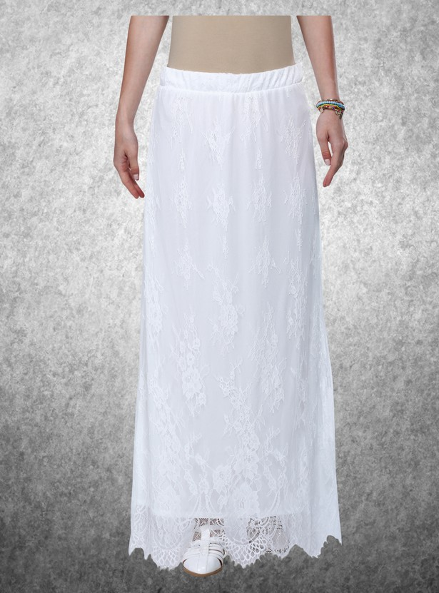 Lace A-Line Maxi Skirt with Elasticised Waistband