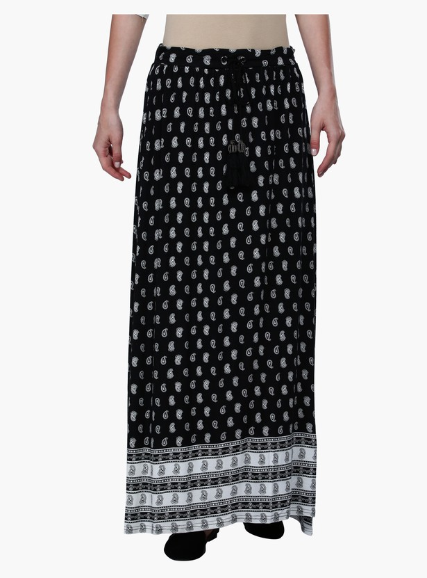 Printed Maxi Skirt with Tie-ups