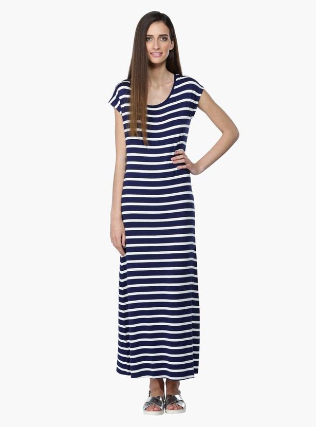 Striped Short Sleeves Maxi Dress