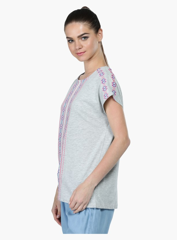 Puff Print T-Shirt with Short Sleeves