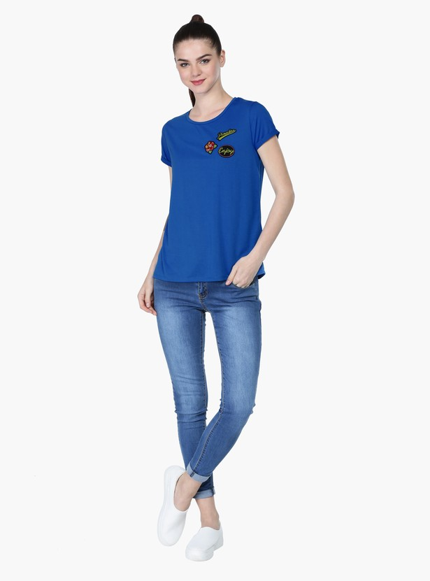 Applique T-Shirt with Round Neck and Short Sleeves