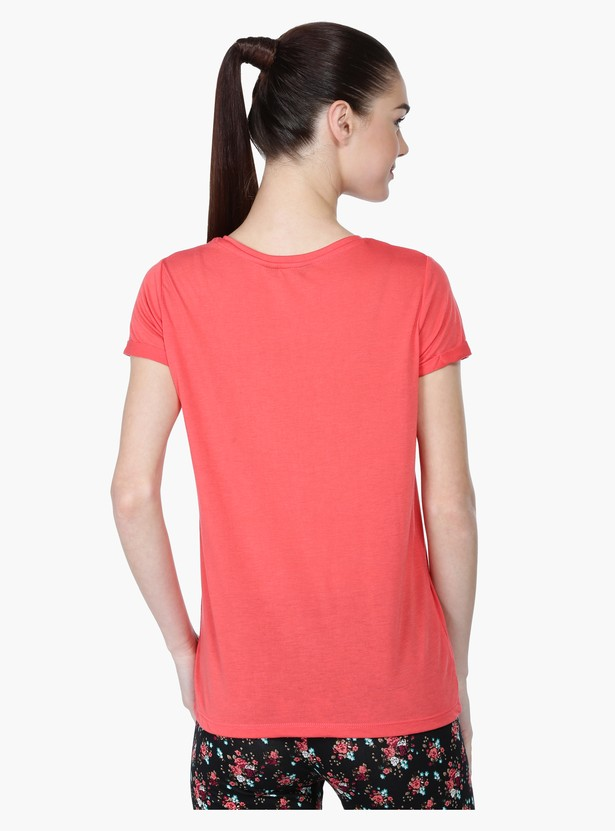 Printed Short Sleeves T-Shirt with Patch Applique