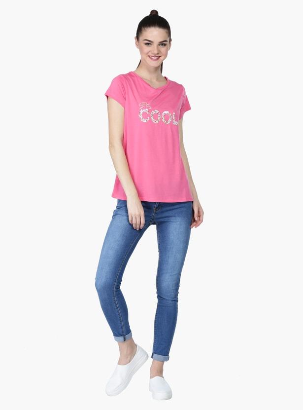 Sequin Embellished Round Neck Short Sleeves T-Shirt