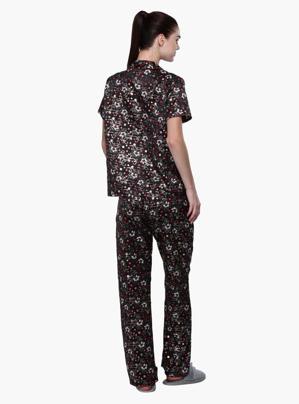 Printed Shirt and Pyjama Set