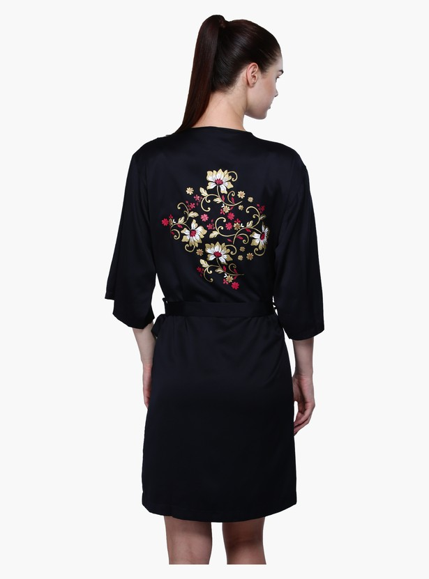 V-Neck Midi Robe with Back Floral Print