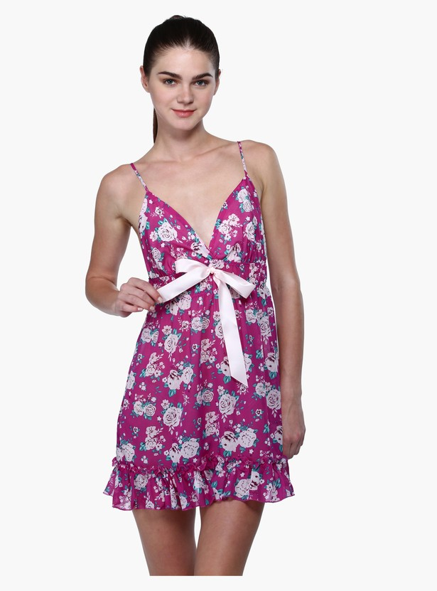 Printed Spaghetti Straps Sleep Suit with Bow Detailing