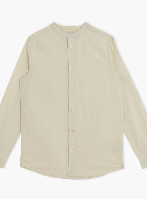 Long Sleeves Mandarin Collar Shirt