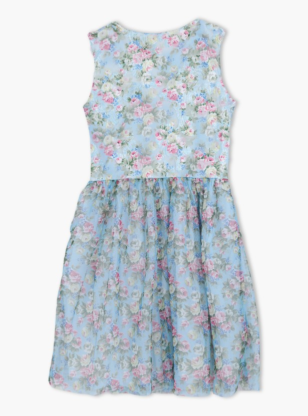 Floral Print Sleeveless Top with Round Neck