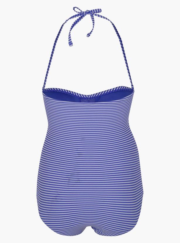 Striped Bikini with Halter Neck