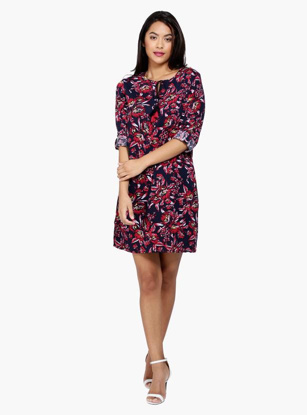 Printed 3/4 Sleeves Tunic Dress