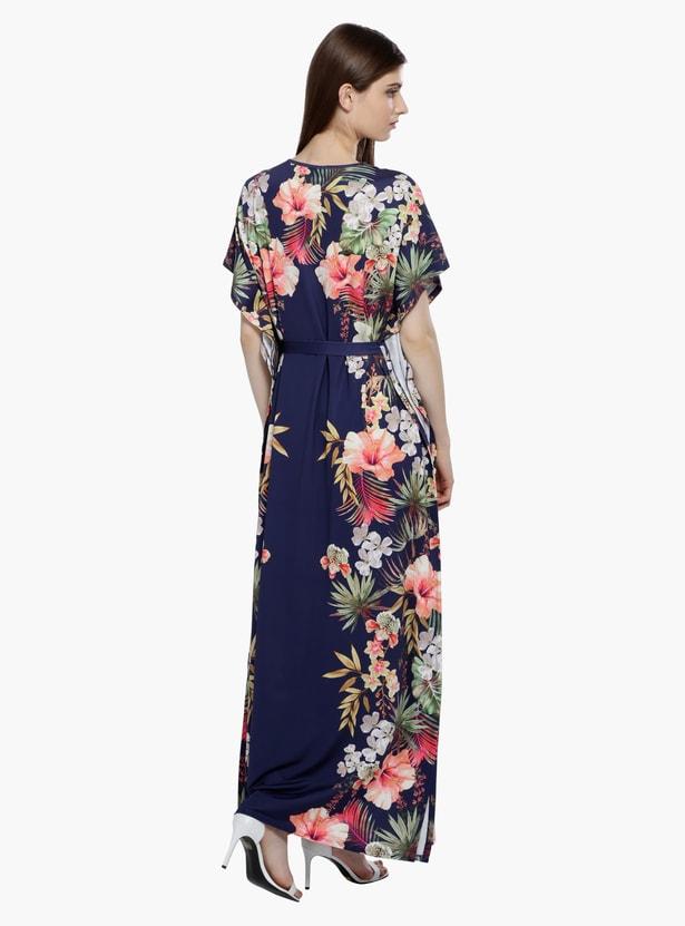 Printed Maxi Dress with V-Neck