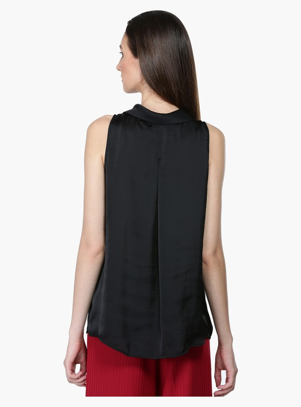 Sleeveless Cowl Neck Top in Regular Fit