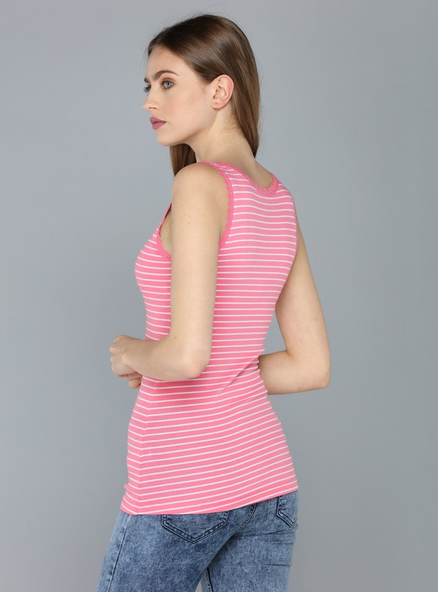 Striped Sleeveless T-Shirt with Lace Trims