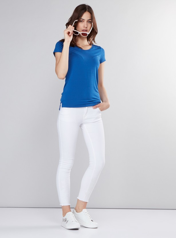 V-Neck T-Shirt with Cap Sleeves