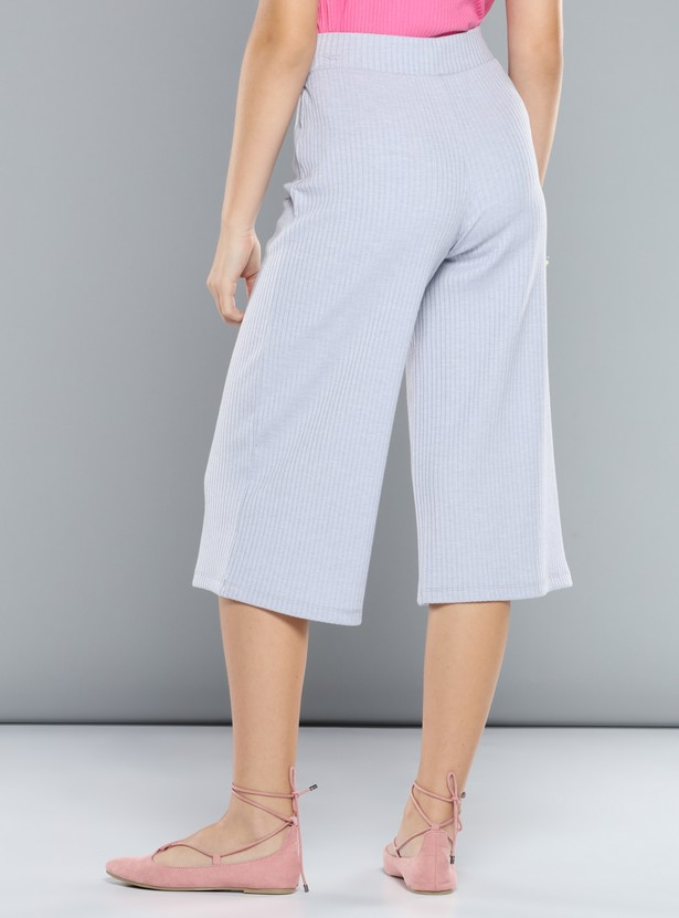 Ribbed Culottes with Tie-Up Detail