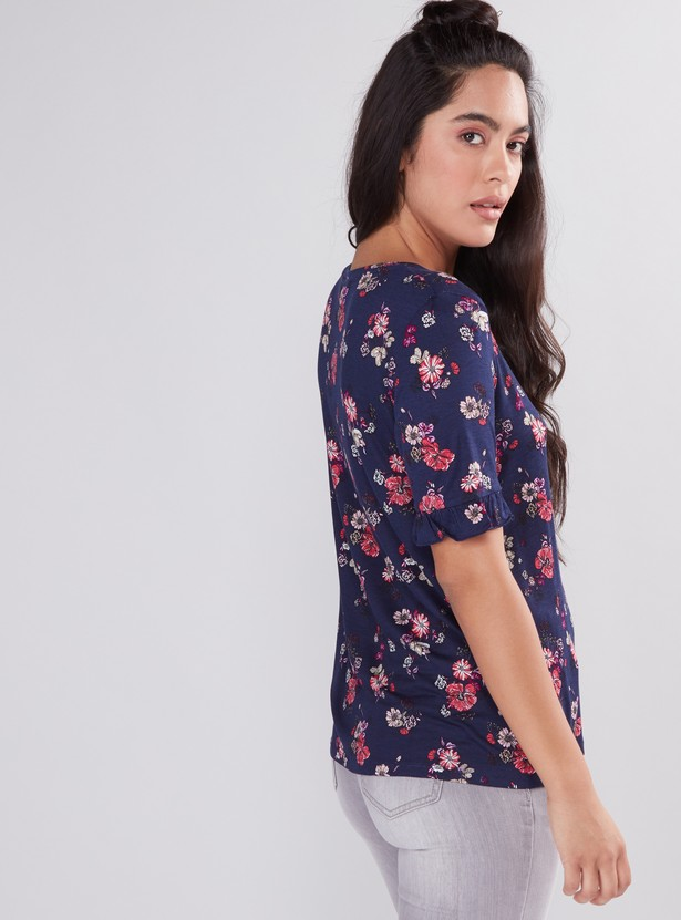 Printed Top with Short Sleeves and Frill Detail