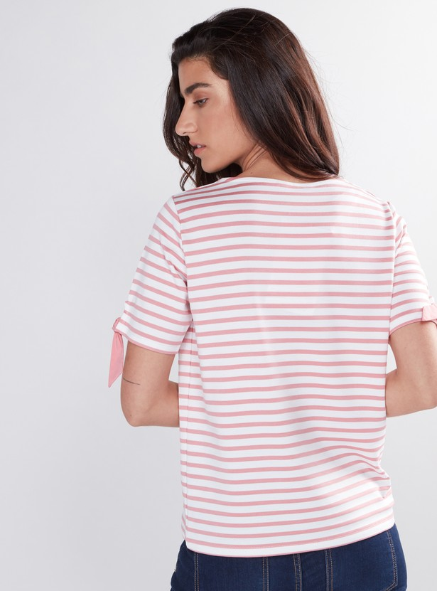 Striped Top with Boat Neck and Short Sleeves