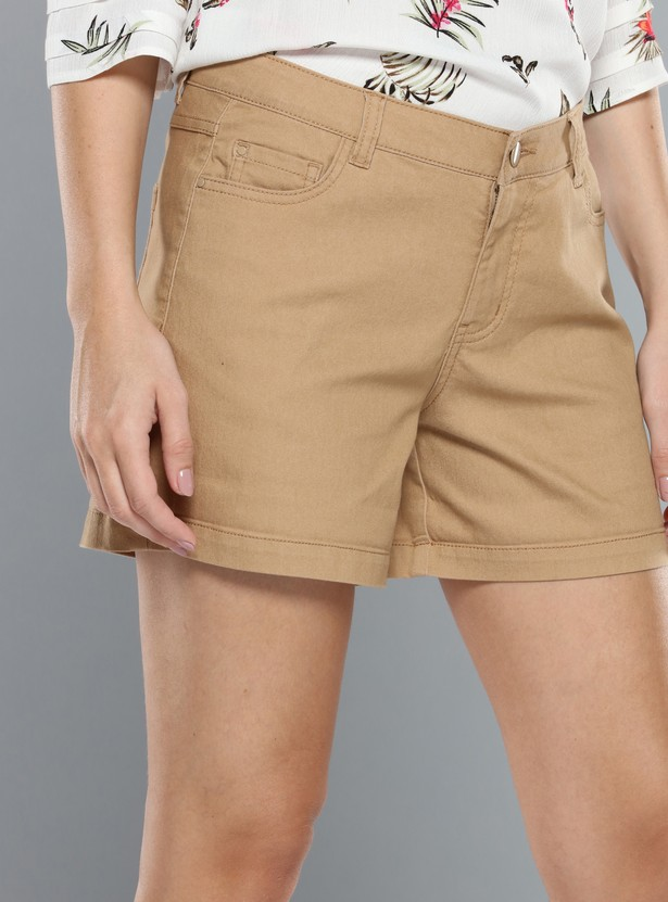 Mid-Rise Shorts with Button Closure and Zip Fly