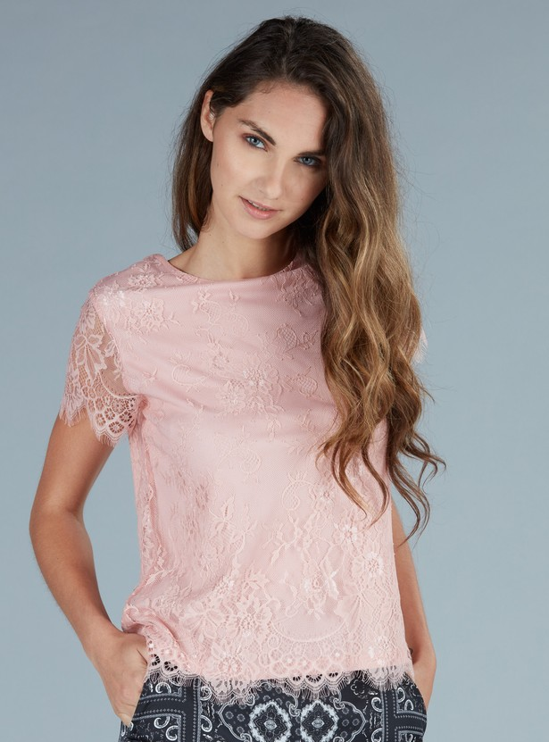 Lace Short Sleeves Top with Keyhole Closure