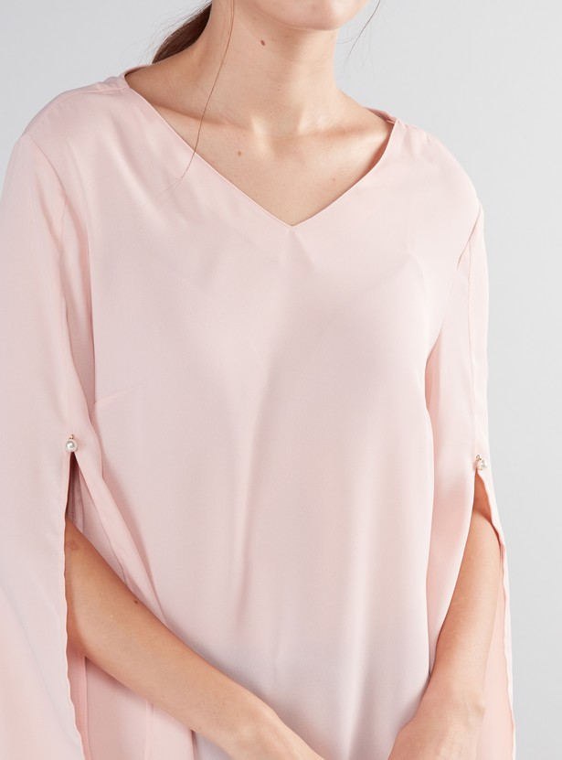 V-Neck Top with Long Slit Sleeves
