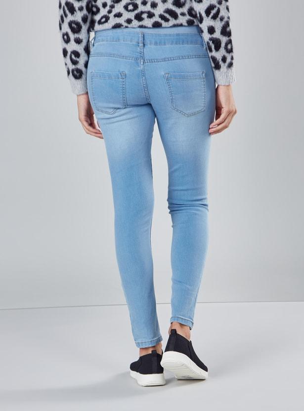 بنطال جينز طويل بتفاصيل جيوب وحلقات للحزام للحوامل