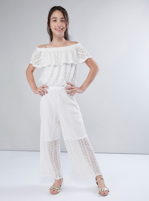 Off Should Lace Jumpsuit with Frill Detail