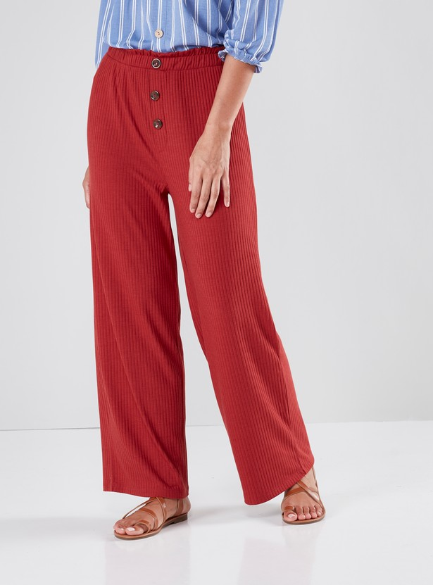 Full Length Ribbed Palazzos with Elasticated Waistband