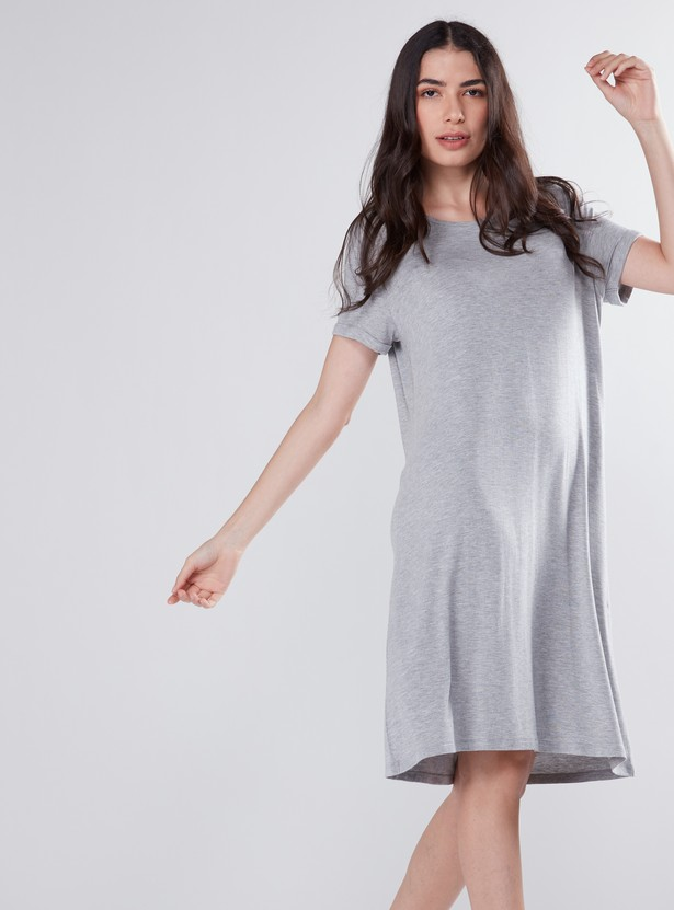Scoop Neck Shift Mini Dress with Short Sleeves
