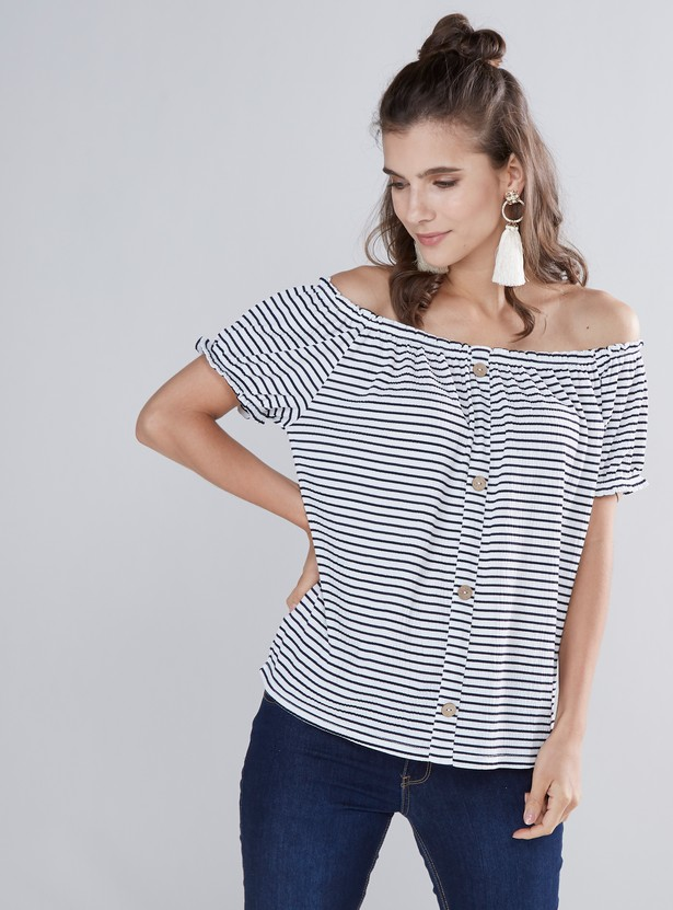 Striped Off Shoulder Top with Short Sleeves and Button Detail
