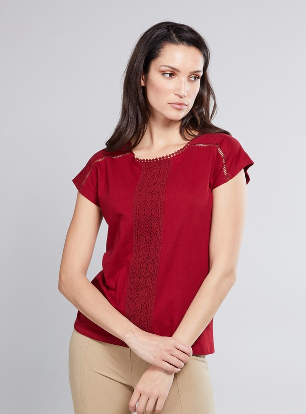 Textured Top with Round Neck and Cap Sleeves