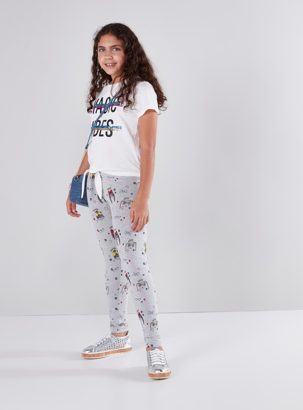 Printed Full Length Leggings with Elasticated Waistband