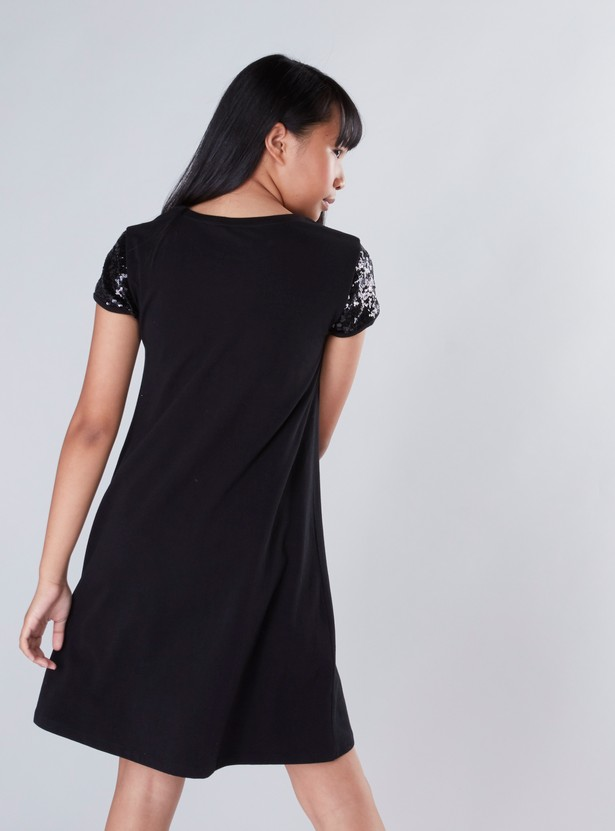 Hello Kitty Embellished A-Line Dress with Round Neck and Short Sleeves