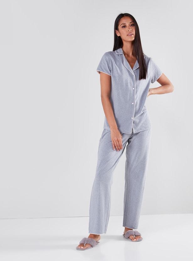 Solid Lapel Collared Shirt and Pyjama Set