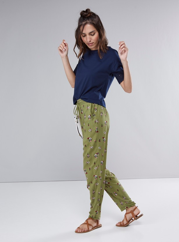 Floral Printed Harem Pants with Front-Knot Closure