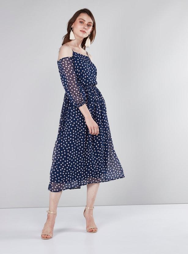 Polka Dot Printed Cold Shoulder Midi Dress with 3/4 Sleeves